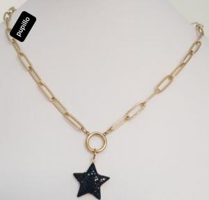 collana acciaio gold   pendente stella  strass nero