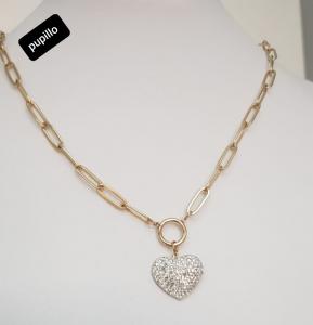 collana acciaio gold  pendente cuore  strass bianco