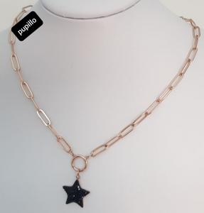 collana acciaio gold  rose  pendente stella  strass nero