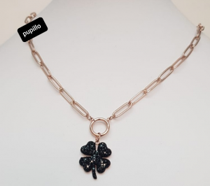 collana acciaio gold rose    pendente fiore strass nero