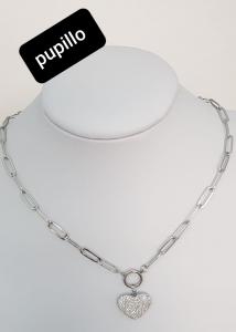 collana acciaio silver  pendente cuore  strass bianco