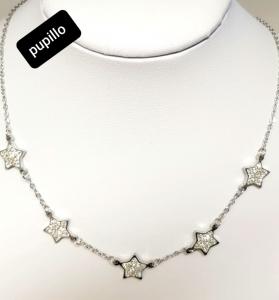 collana acciaio silver 5stelle strass bianco