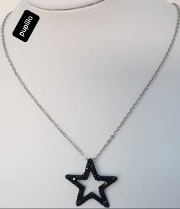 collana acciaio silver   pendente stella strass nero