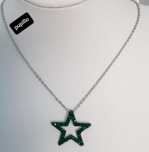 collana acciaio silver   pendente stella strass verde
