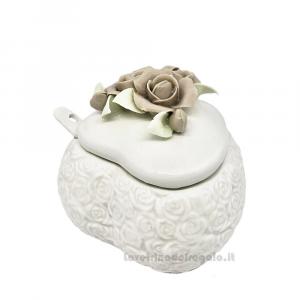 Zuccheriera a forma di Cuore con fiori in porcellana 8 cm - Bomboniere matrimonio