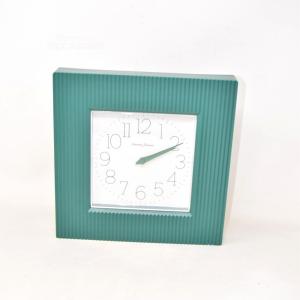 Wall Clock Square Diamantini Domenicani Green Made In Italy 26x26 Cm