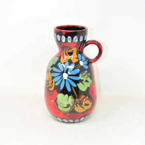 Vase Hand Painted In Terracotta Enameled 25 Cm