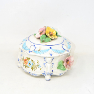 Biscottiera In Ceramica Bassano Del Grappa Dipinta A Mano Diametro 20 Cm Circa