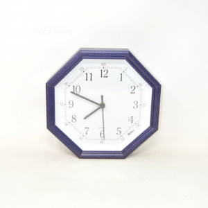 Wall Clock Octagonal With Frame Blue Withos 25