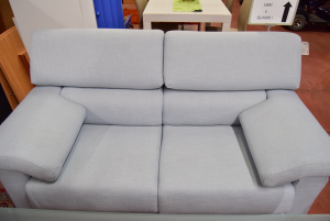 Sofa Light Blue 2 Seats In Fabric Removable Cover New Made In