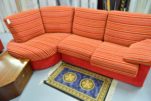 Sofa Red Striped With Angoliera In