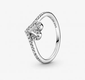 Sparkling Wishbone Heart Ring - 52