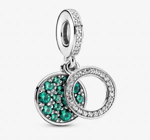 Charm pendente doppio con disco verde scintillante