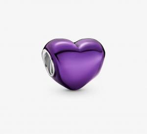 Charm Cuore viola metallico