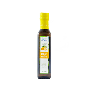 Extra virgin olive oil with lemon in bottle