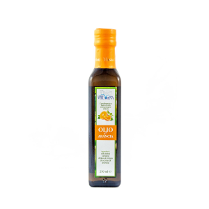 Extra virgin olive oil with orange in bottle