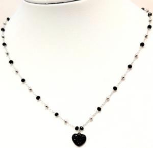 collana acciaio gold  perle vetro cuore strass nero