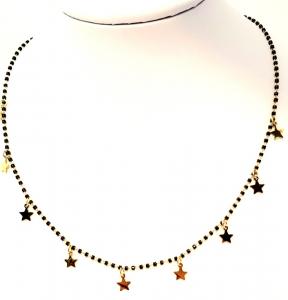 collana acciaio gold perline vetro stelline