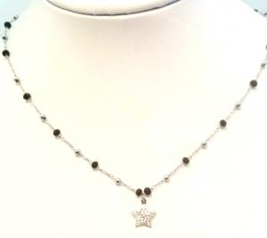 collana acciaio silver  perle vetro stelle strass bianco
