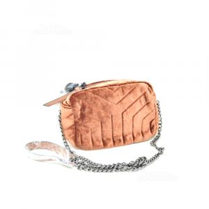 Bag In Velvet Brown New 20x10x15 Cm