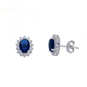 Orecchini Lobo Arg Rodiato Ovale Blu+Zirc