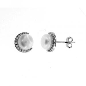 Orecchini Lobo Argento con Perla e Zirconi