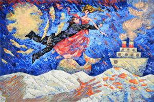 Giampaolo Talani Notte degli innamorati Serigrafia Form. cm 40x60