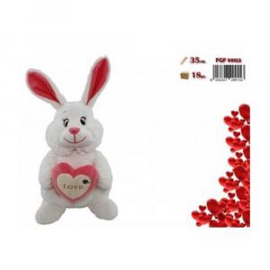 FGF Coniglio Peluche con Cuore e Scritta Bianco e Rosso Romantico San Valentino