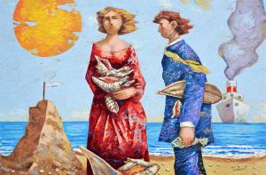 Talani Giampaolo Cercatori di conchiglie Serigrafia Form. cm 40x60