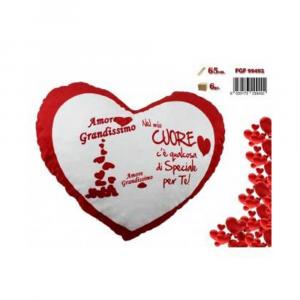 FGF Cuore Cuscino Con Stampa e Scritta Romantica Per San Valentino Rosso e Bianco 65 cm