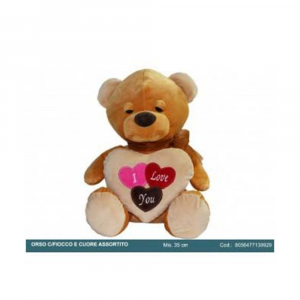 FGF Orso in Peluche Con Fiocco e Cuore Colorato e Decorato 35 cm Romantico San Valentino