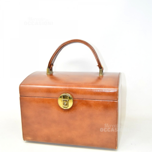 Travel Beauty-case Brown With Lock Golden (no Keys)