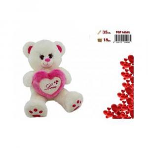 FGF Orso Bianco in Peluche con Cuore Rosa Decorato e Scritta Love Romantico per Occasione Di San Valentino Regalo