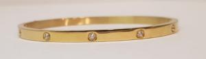 bracciale acciaio gold  manettta 10 zirconi