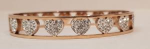 bracciale acciaio gold rose  manetta 7 cuori  strass