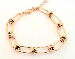 bracciale acciaio gold rose catena e nodi