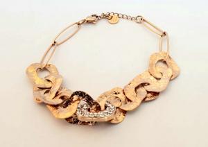 bracciale acciaio gold rose catena martellata e strass