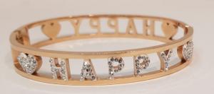 bracciale acciaio gold rose manetta  scritte happy strass