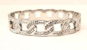 bracciale acciaio silver  manetta catena strass