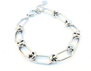 bracciale acciaio silver catena e nodi