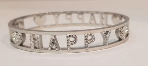 bracciale acciaio silver manetta  scritte happy strass