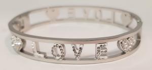 bracciale acciaio silver manetta  scritte love strass