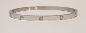 bracciale acciaio silver manettta 10 zirconi
