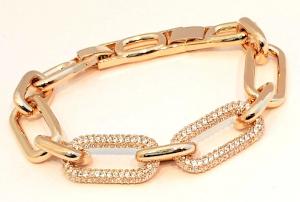 bracciale metallo gold  catena zirconi