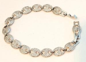 bracciale metallo silver  zirconi