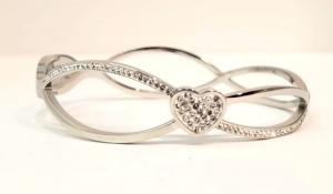 bracciale acciaio silver manetta cuore strass