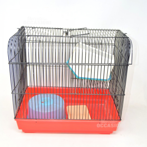 Cage Per Criceto With Accessories 34x23x32 Cm Base Red