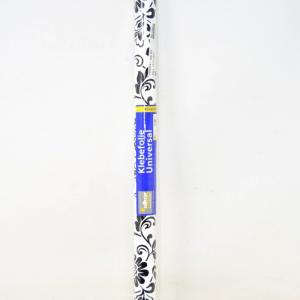Roll Plastic Autoadesiva White Black Floral 2m 45cm