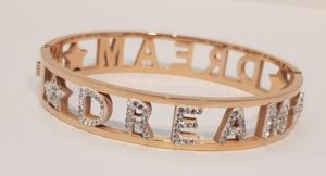 bracciale acciaio gold rose manetta  scritte dream strass