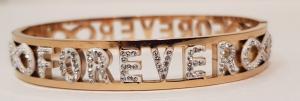 bracciale acciaio gold rose manetta  scritte forever strass